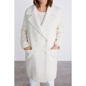 Zara Limited Edition Cream Wool Blend Button Coat